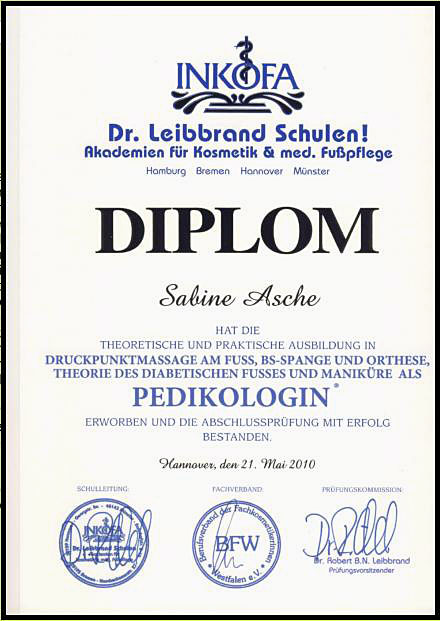 Fusspflege Asche Diplom Pedikologin