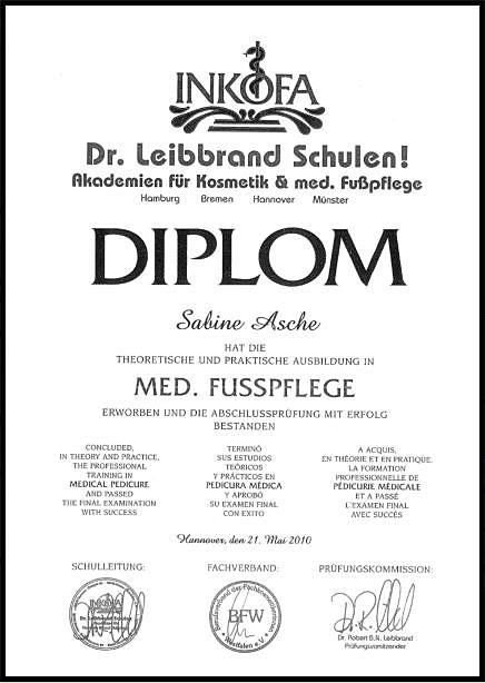 Fusspflege Asche Diplom Med. Fusspflege